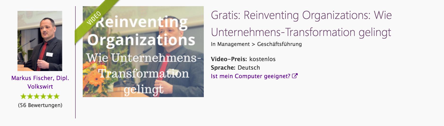 Videokurs, Reinventing Organizations, 1h, kostenfrei