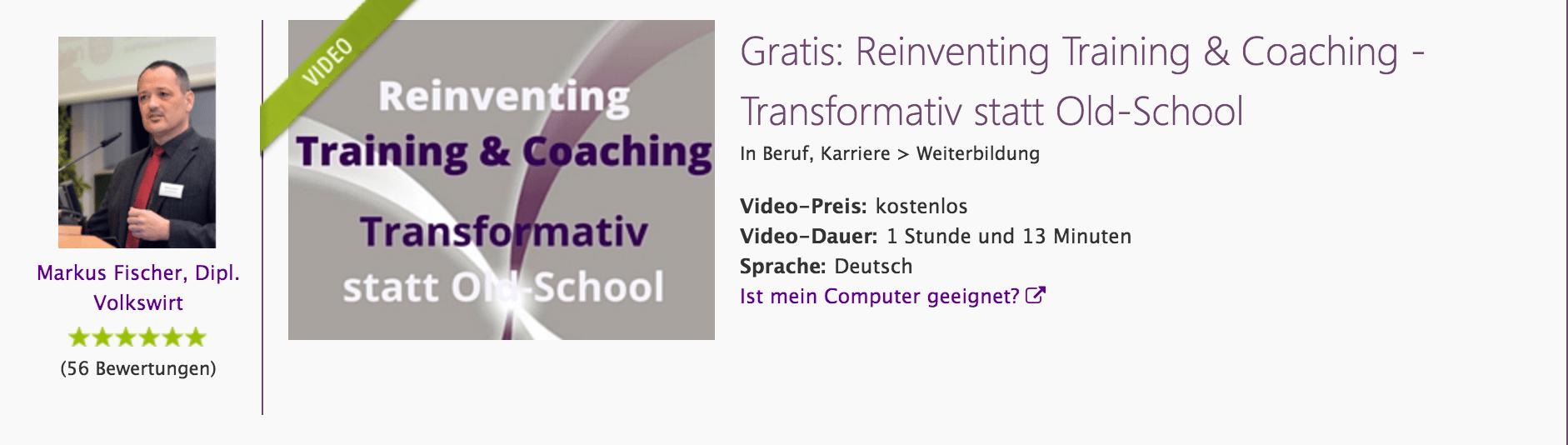 Videokurs Reinventing Training & Coaching, 1h, kostenfrei